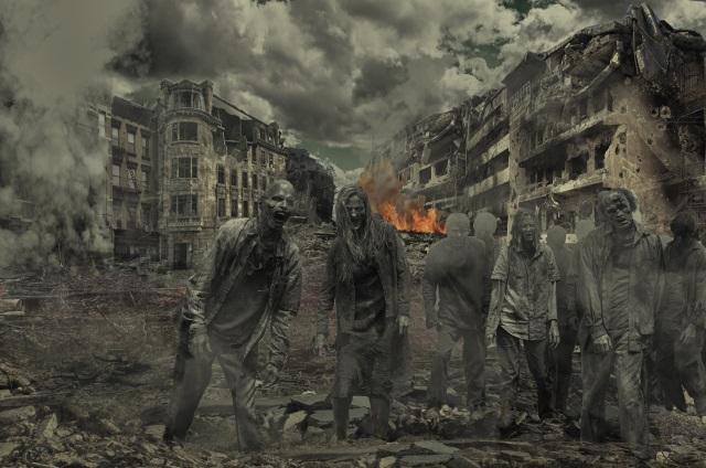 Zombies Destroyed City Horror Walking Dead